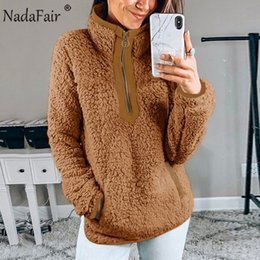 zip up sweatshirt hoodies Australia - Nadafair Casual Oversized Fluffy Hoodie Women Christmas Zip Up Faux Fur Winter Fleece Sweatshirt Hoody Ladies Pullover T191217