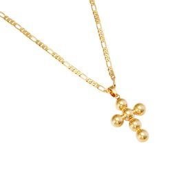 Vintage Jesus Pendant Australia - Cross Crucifix Jesus Pendant Necklace Gold Color Brass Copper Men Chain Christian Vintage Beaded Cross Jewelry