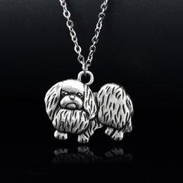 wholesale dog lover gifts NZ - New Vintage Pekingese Necklace Stainless Steel Chain Colar Boho Dog Charms Pendant Necklaces For Women Girls Pet Lover Accesorios Mujer