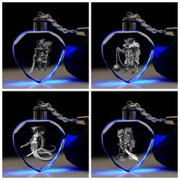 chinese zodiac toys 2019 - IVYYE Chinese Zodiac Role Heart shaped Anime LED Key Chains Figure Keyring Crystal Toy Keychain Light Keyholder Unisex G