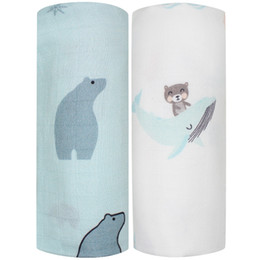 gauze towels NZ - 2pcs Set Bamboo Cotton Muslin Baby Swaddles 120x120cm Newborns Baby Blankets Multifunctional Infant Gauze Bath Towel Hold WrapsMX190910