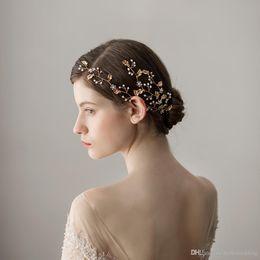 Gold Leaf Designs Australia - 2018 New Design Wedding Headpieces With Gold Leaf Rhinestones Women Hair Jewelry Bridal Hair Accessories DB-HP368