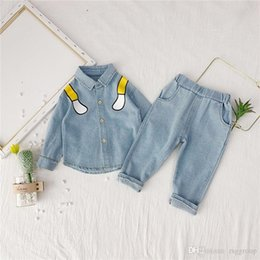 $enCountryForm.capitalKeyWord Australia - Autumn Fashions Newest INS Kids Girls Denim Suits Stylish Child Girls Jackets with Jeans 2pieces Cartoon Designs Children Boys Clothing Set
