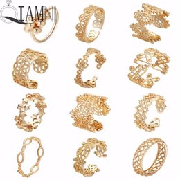 Wholesale QIAMNI Gold Color Flower Stackable Finger Ring Wedding Women s Cocktail Hollow Geometric Toe Foot Ring Party Jewelry Bague Femme