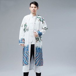 chinese dragon robes NZ - New male cheongsam Chinese traditional robe cotton linen man Mandarin collar long jacket gown dragon pattern Tang suit Ethnic stage wear
