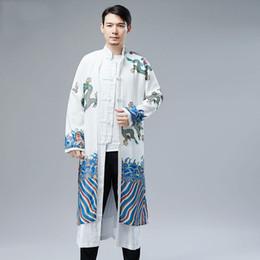$enCountryForm.capitalKeyWord Australia - New male cheongsam Chinese traditional robe cotton linen man Mandarin collar long jacket gown dragon pattern Tang suit Ethnic stage wear