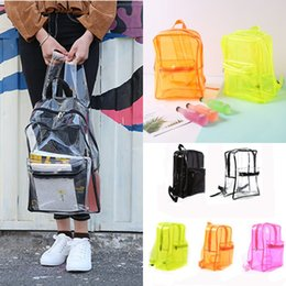 clear color backpack Canada - PVC Jelly Color Backpack Waterproof Clear Adjustable Straps Backpack Fashion Style Women Girls Travel Portable Backpack