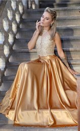 $enCountryForm.capitalKeyWord Australia - 2019 Charming Gold Two Pieces Prom Bridesmaid Dresses Sheer Neck Lace Top with Sequins Beaded Satin A line Pleated Evening Party Dress
