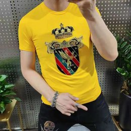 T-Shirts Mens Fashion Summer style Printed t-shirts Young man cotton black white green yellow red Crew neck casual