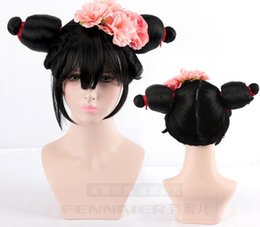 Chinese  White Snake Origins Bao Qingfang Master Old Fox Characters Double Hairpin Flower Headwear Cos wig manufacturers