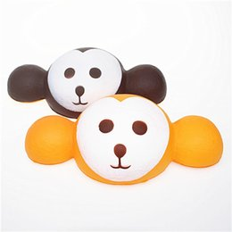 big heads toys UK - Kawaii Simulated monkey head bread Squishy Slow Rising Charms big ear monkey Jumbo Soft Decompression toy for kids Strap Pendant toy