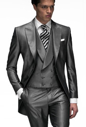 Morning suit sliM fit online shopping - Morning Style One Button Shiny Gray Wedding Groom Tuxedos Peak Lapel Groomsmen Men Suits Prom Blazer Jacket Pants Vest Tie NO
