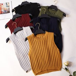 $enCountryForm.capitalKeyWord Australia - Autumn Winter Knitted Vest Coat Women Pullovers Sweater Waistcoat Slim Sleeveless Jacket Tops Students Girls Short Vest SF1523