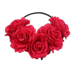wholesale hippie headbands Australia - Women Rose Holiday Crown Festival Headbands Hippie Flower Headpiece Wreath Leave Flower for Party Christmas