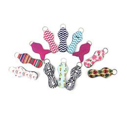 Gift wrap holder online shopping - Neoprene Keychain Sports Baseball Flowers Print Lipstick Holder Wrap Chapstick Holder Lip Cover Party Favor Gift Styles