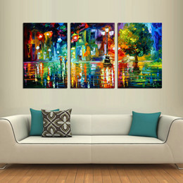 $enCountryForm.capitalKeyWord Australia - Oil Painting HD Print Leonid Afremov Abstract Night Lamps Rainy On Canvas Modern Decoration Wall Art Without Framed   With framed