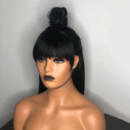Full Wig Lace Front Bangs Australia - Popular Silk Straight Human Hair Wigs Bleached Knots Full Lace Wigs Brazilian Malaysian Medium Size Swiss Lace Cap Lace Front Wigs With Bang