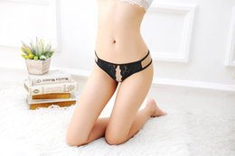 girls t back thongs UK - Women Girl Sexy Lingerie Low Rise Lace Floral G String Thongs T Back Open Crotch Crotchless Mesh Hollow Out Underwear
