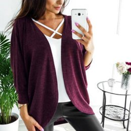 $enCountryForm.capitalKeyWord NZ - Fashion Women Spring Autumn Loose Bat-wing Sleeve Knitted Sweater Solid Color Cardigan Shawl Tops Sweaters