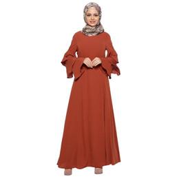b667fc83 Women Muslim Loose Solid Color Robe Clothing Abaya Islamic Arab Kaftan Dubai  O-neck Party Dress W315
