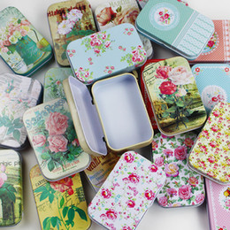 Mini Box For Candies Australia - 1PC Vintage Flower Printing Mini Tin Box for Jewelry Wedding Favor Metal Candy Box Decorative Storage Boxes Gift