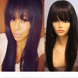 cheap stock lace wig NZ - Cheap Glueless Full Lace Human Hair Wigs For Black Woman Brazilian Lace Front Human Hair Wigs with Bangs Full lace wigs In stock