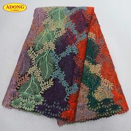 water soluble fabric wholesale NZ - Fashionable African lace fabric Guipure lace Water soluble lace fabric Embroidery With Beads and Stones high quality for Garment