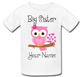 Wholesale Personalised Big Sister Girls Owl Kids Tee T Shirt T Shirt Top new baby gift Funny Unisex Casual