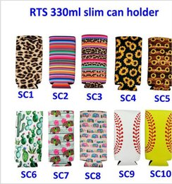 $enCountryForm.capitalKeyWord Australia - Creative Neoprene Can Cooler Sleeve for 330ml Slim Can Holder Sunflower Baseball Pattern Beer Soda Water Can Cover 15 Colors Free Shipping
