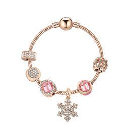 $enCountryForm.capitalKeyWord Australia - New Fashion snowflake pendant bracelet loose charms cateye beads bangle charm bracelet DIY Jewelry as gift for women and girl