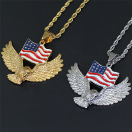 $enCountryForm.capitalKeyWord Australia - Hot 18K Gold Plated American Flag Eagle Stainless Steel Pendant Necklace Mens Hip Hop Jewelry Gift