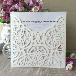 Lace White Invitation Cards NZ - 20PCS LOT Luxury Wedding Invitation Card Decor With Hollow Lace Flowers Party Supplies Blessing Gift Cards