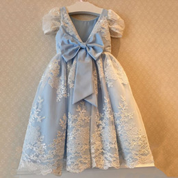 Blue Shirt For Wedding Australia - Sky Blue Lace Flower Girl Dress Floor Length with Bow Custom Made A-line Appliques Short Sleeves for Wedding Birthday Dresses Maxi Gowns