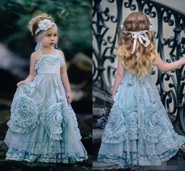Wholesale Light Sky Blue Halter Flower Girl Dresses Backless Chiffon Ruffles Lace Floor Length Baby Birthday Party Dresses Pageant Gowns Cheap