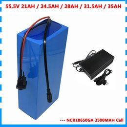 used electric scooters bike UK - 55.5V 21AH 24.5AH 28AH 31.5AH 35AH Electric bike battery 55V 15S Lithium ion scooter battery use NCR18650GA 3500mah cell 50A BMS