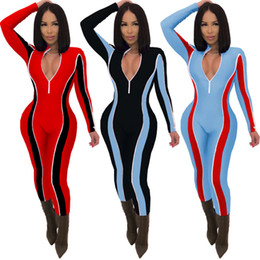 plus size fashion jumpsuits rompers NZ - Women Fall Winter Jumpsuit Bodycon Long Sleeve Rompers Plus Size Overalls Sexy BodySuit S-2XL Suspenders Fashion Clothes 2416