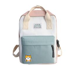 $enCountryForm.capitalKeyWord UK - Harajuku Candy Color Corgi Cute Canvas Portable School Bag Female Japanese Kawaii Bagpack Shoulder Bag Travel Backpack