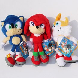 "sonic hedgehog plush wholesale Australia - 3pcs set New Arrival Sonic the hedgehog Sonic Tails Knuckles the Echidna Stuffed animals Plush Toys With Tag 9""23cm DHL Shippng 11"