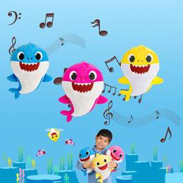 $enCountryForm.capitalKeyWord Australia - 12'' BABY SHARK With Music Plush Toys 12inch 30CM Stuffed&Plush Dolls Shark Baby Mommy Daddy Grandpa Grandma Game Playing Singing Songs 6PCS