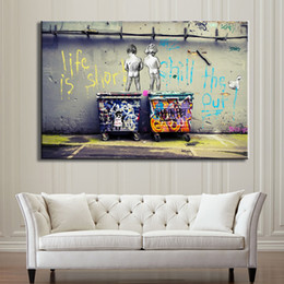 out decor NZ - Banksy Graffiti Art Abstract Canvas Painting Life Is Short Chill The Duck Out Home Decor Handpainted &HD Print Wall Art Canvas 200117