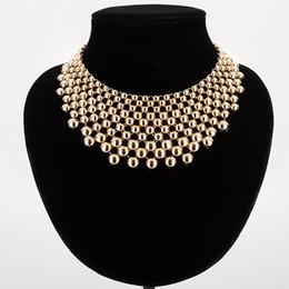 $enCountryForm.capitalKeyWord Australia - New Fashion Charming Round Bead Tassel Choker Bib Necklace Gold Silver