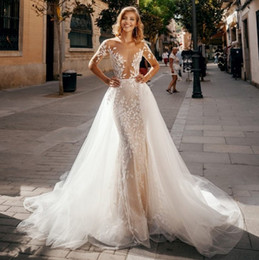 beach wedding dresses sheer Australia - Stylish Mermaid Lace Beach Wedding Dresses Sheer Bateau Neck Boho Long Sleeves Bridal Gown With Detachable Train Sequined Vestidos De Novia