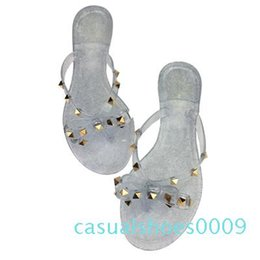 flat gold studs NZ - 2019 fashion women sandals flat jelly shoes bow V flip flops stud beach shoes summer rivets slippers sandals nude