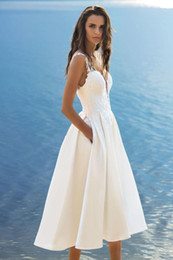 dress design chart NZ - Spaghetti Strap Short Beach Wedding Dresses With Pocket A-Line Tea Length Satin Lace Bridal Gowns Robe De Mariage 2019 New Design W206