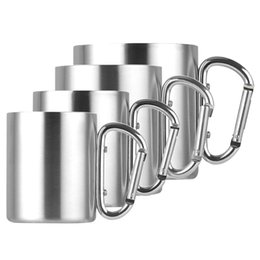China 220ml  300ml  350ml  450ml Stainless Steel Cup Camping Traveling Outdoor Cup Double Wall Mug with Carabiner Hook Handle Outdoor Drinking Mug suppliers