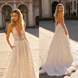 $enCountryForm.capitalKeyWord Australia - Berta 2020 Beach Wedding Dresses Plus Size Lace Sequined Halter Neck Bridal Gowns Crystals Backless Sweep Train robes de mariée