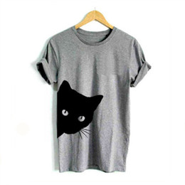 f43bcefc3 Cat Looking Out Side Print Women Tshirt Cotton Casual Funny T Shirt for Lady  Girl Top Tee Hipster Tumblr Drop Ship