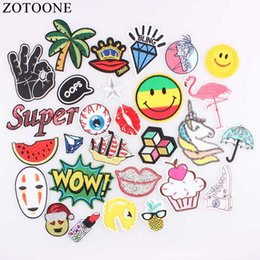 $enCountryForm.capitalKeyWord Australia - ZOTOONE Star Lip Patch Letter Kids Cheap Cute Embroidered Patches Food Iron On Cartoon Patches For Clothing Jeans DIY Appliques
