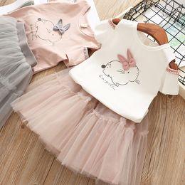 Rabbit Tutu Australia - baby girls ins tutu skirt set summer Off-the-shoulder rabbit T-shirt + mesh short skirt 2pcs children princess costumes kids clothing set