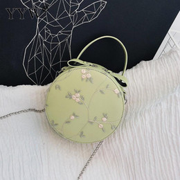 Ladies Green Handbag Australia - Avocado Green Round Embroidery Ladies Handbag Clutch Purse Bolso Mujer Pu Leather Floral Handbag Pink White Bags For Women 2019